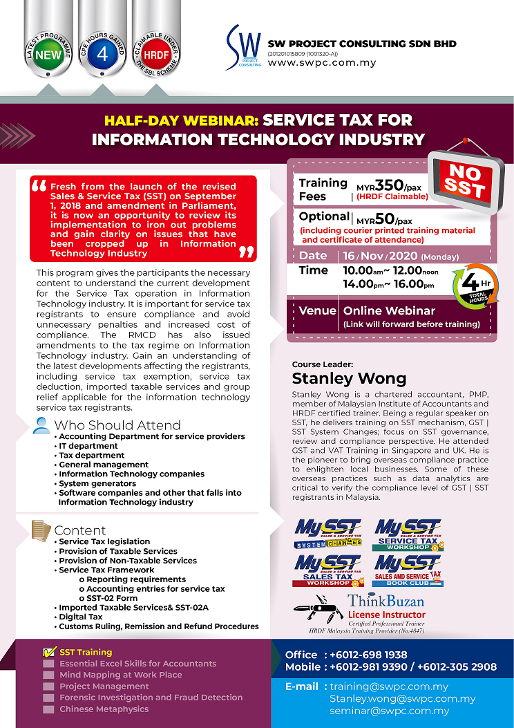 Half-Day Webinar: Service Tax for Information Technology Industry