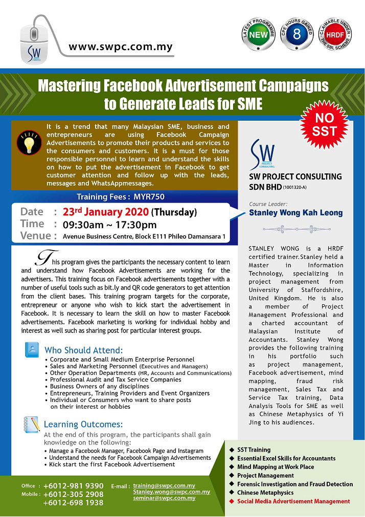 Mastering Facebook Advertisement to Generate Leads for SME (PJ)