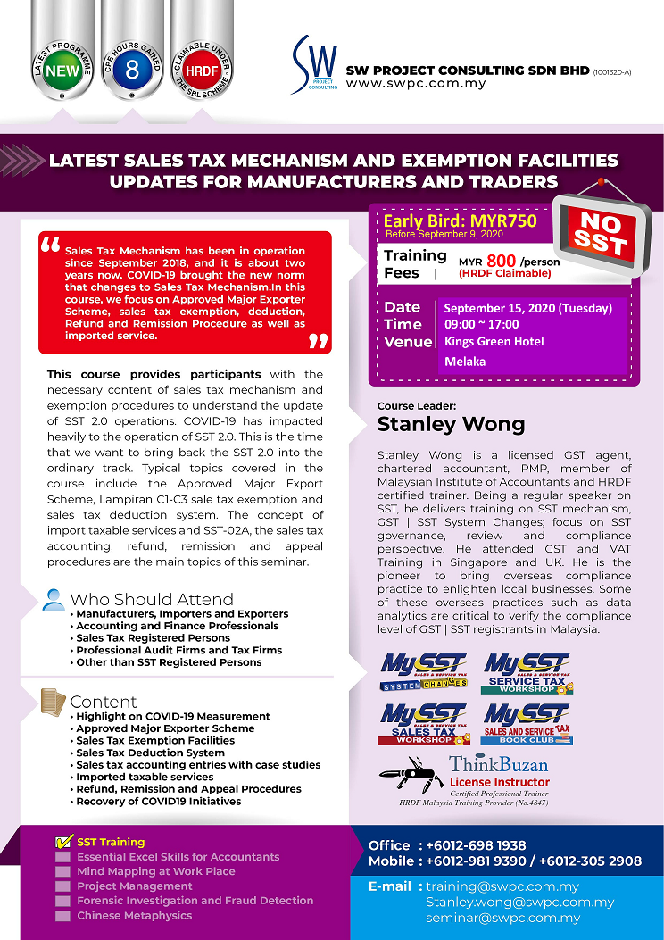 Latest Sales Tax Mechanism & Exemption Facilities for Manufacturers and Traders (Melaka)