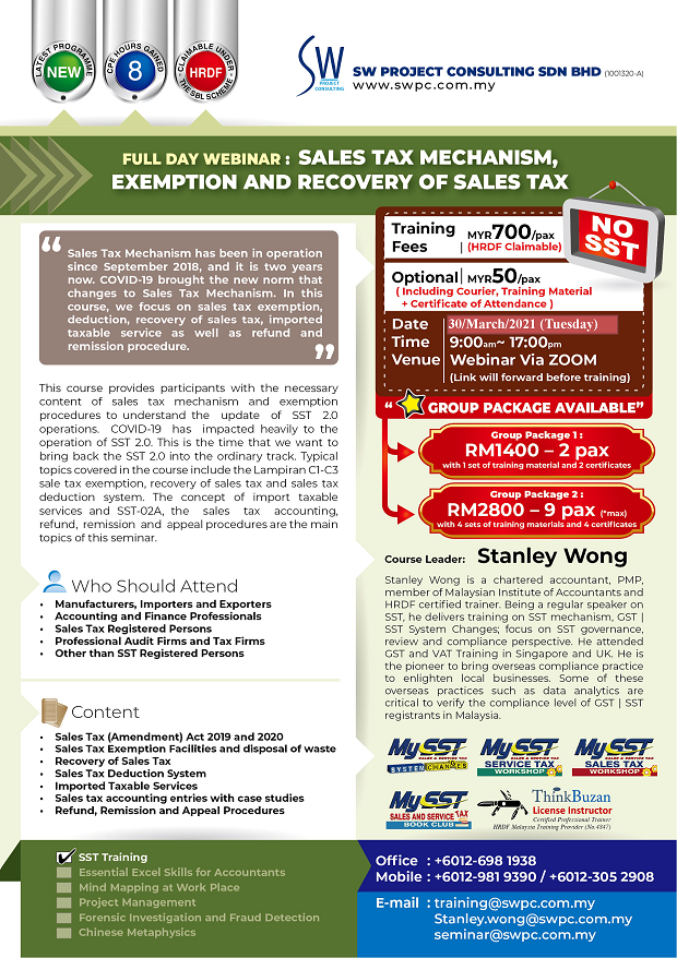 Webinar: Sales Tax Mechanism, Exemption and Recovery of Sales Tax