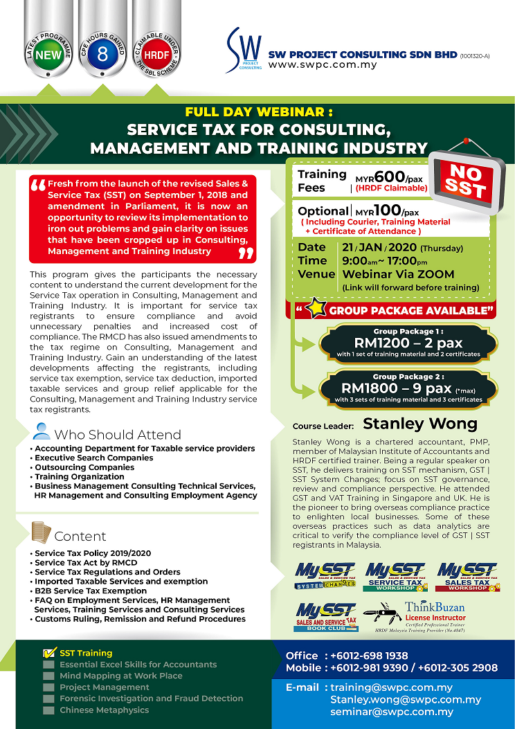 Webinar – Service Tax for Consulting, Management and Training Industry